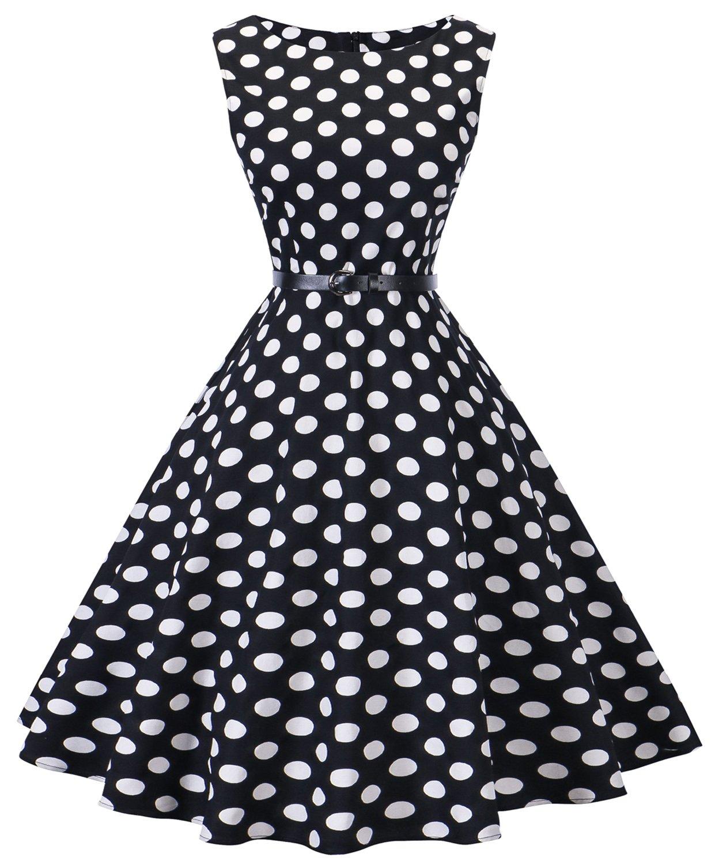 I2CRAZY Womens Boatneck Sleeveless Vintage 1950s Retro Rockabilly Prom Tea Dress with Belt  ,XX-Large , 01-f08