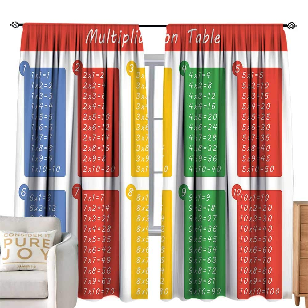 cobeDecor Half Blackout Curtains: Educational Colorful Classroom Multiplication Table Between One to Ten Elementary School Multicolor Soft Texture W84 xL84