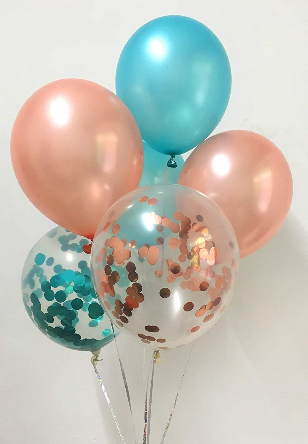 Metallic Teal Rose Gold Balloons for Party Decorations Bridal Shower Engagement Birthday
