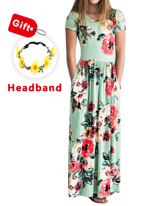 CHARMCZ Girls Dresses Floral Maxi Dress Short Sleeve Casual Pocket Sundress Headband 3-12