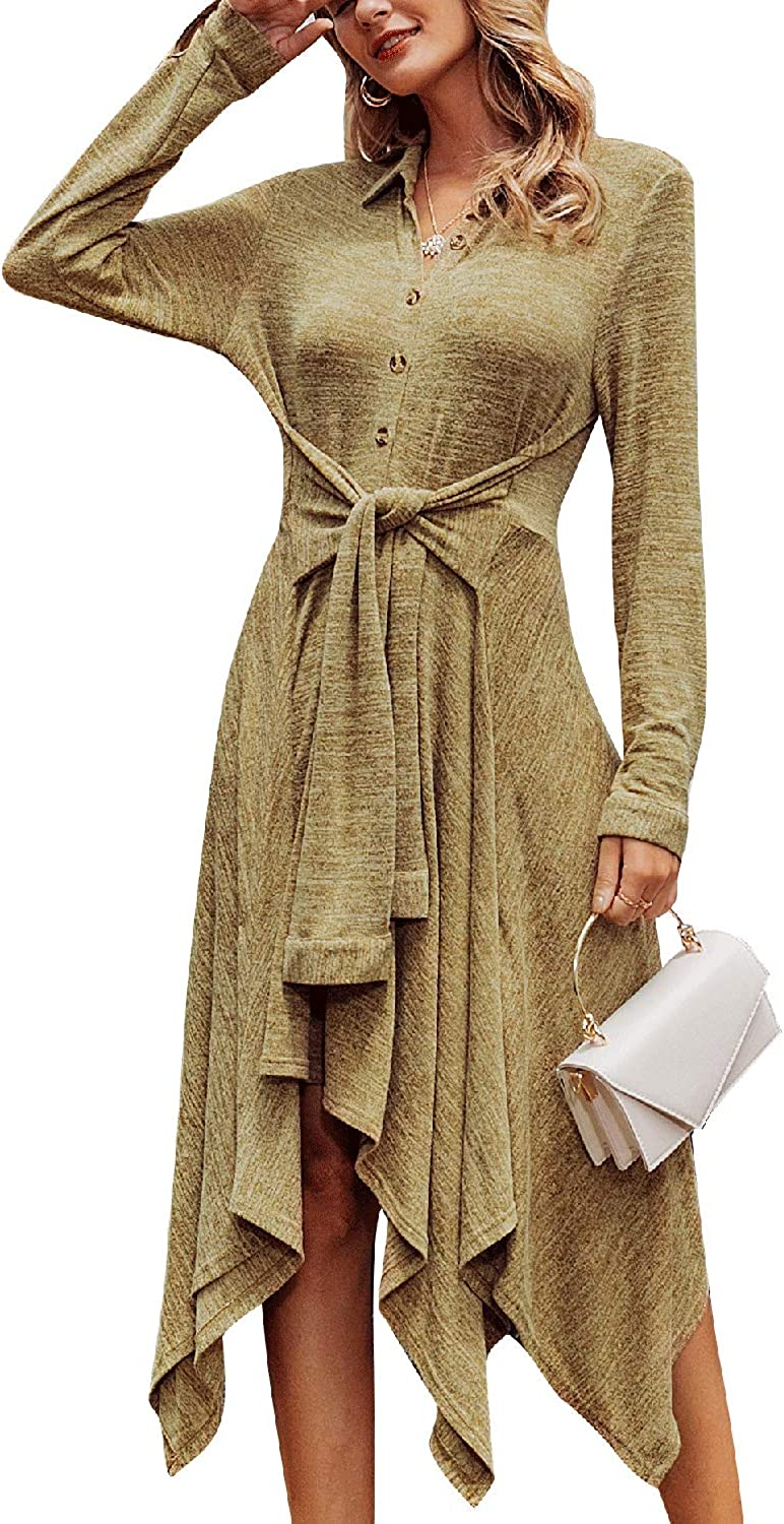 Miessial Women's Winter Long Sleeve Sweater Shirt Dress A-line Stretchy Knitted Casual Midi Dress
