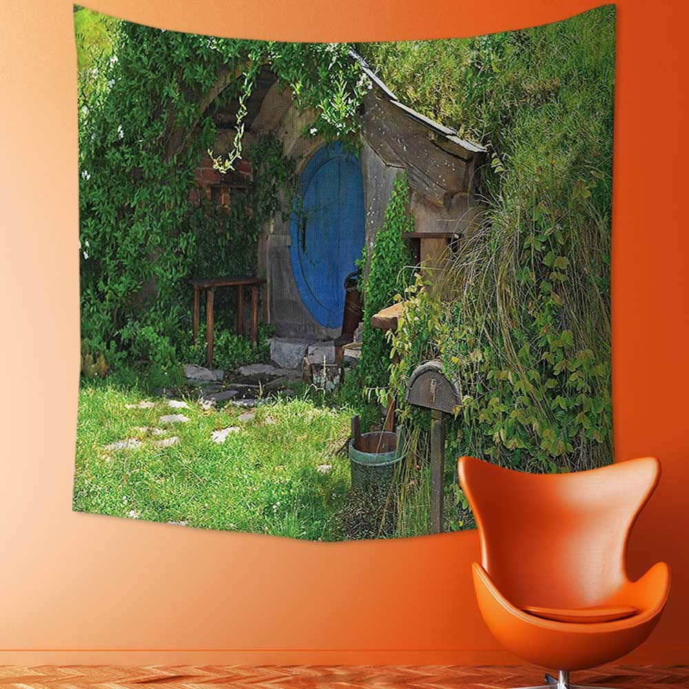 Printsonne Wall Decor Tapestries Hobbit Land House in Magical Overhill Woods Movie Scene Image New Zealand Green Tapestry Coverlet Curtain