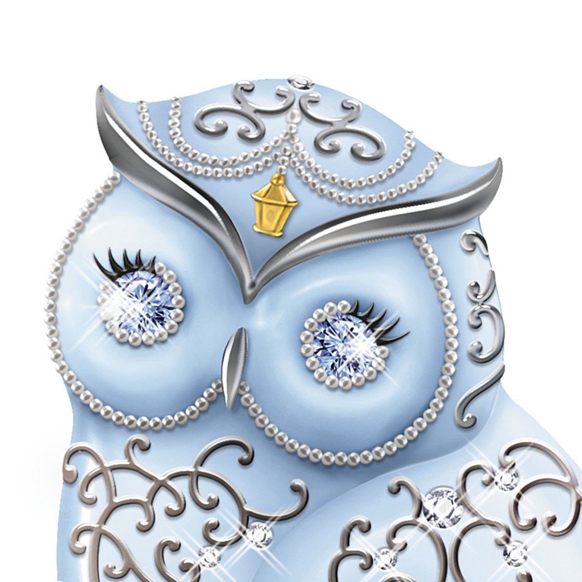 The Hamilton Collection Thomas Kinkade Collectible Owl Figurine with Swarovski Crystals Dazzling Wisdom