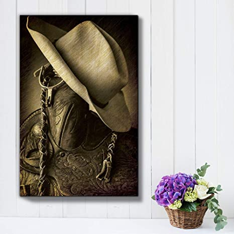 Wall26 Cowboy Hat On The Saddle Horn Hung Up Spurs Wood And Leather Vintage Art Country And Western Rustic Tone Canvas Art Home Art 24x36 Inches Posters Prints