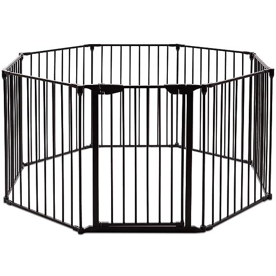 COSTWAY Kaminschutzgitter Metall, Absperrgitter 500cm mit 8 Elementen inkl. Tür, Konfigurationsgitter faltbar, Schutzgitter K