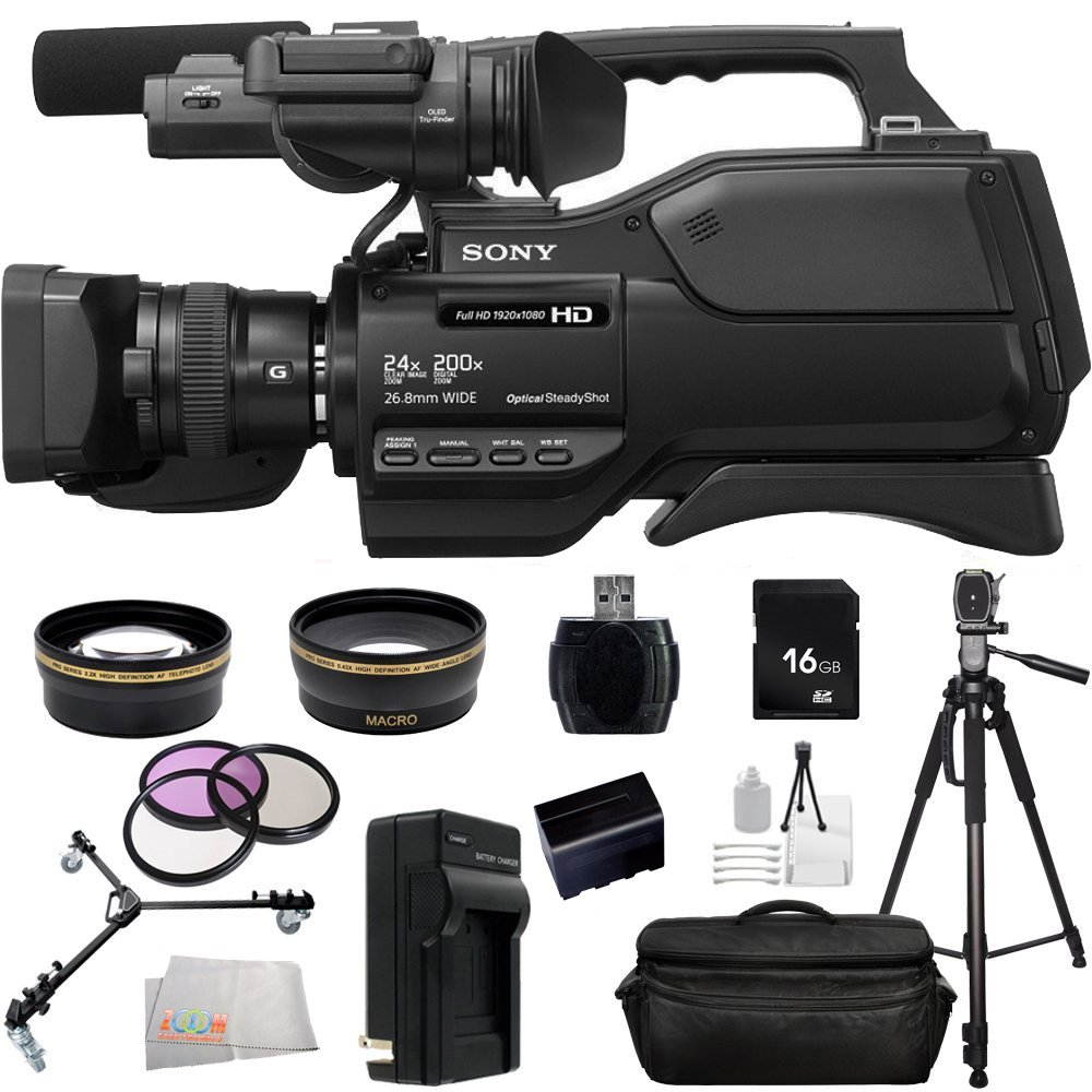 Sony HXRMC2500 HXR-MC2500 Shoulder Mount AVCHD Camcorder with 3-Inch LCD (Black) With 16GB SSE Package Bundle Including: .43x Wide Angle & 2.2x Telephoto Lenses, 3 Piece Multi-Coated Filter Kit, LED Video Light, Replacement CGA-D54 Battery and MORE