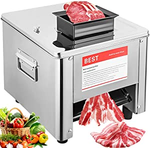 Marada 10MM Electric Slicer Machine Commercial Meat Stainless Steel Desktop Meat Slicers Machine for Pork, Lamb, Beef and Other Meats (10MM)