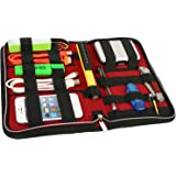 Universal Electronics Accessory Travel Case- Elastic Band Retention System to Organize: Hard Drive, Cable, Smartphone, Phablet, Adapter, External Hard Drive, Flash Drive, USB and More