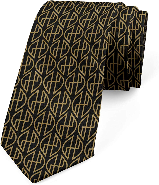 Ambesonne Necktie Antique Classic Elements Dark Khaki Charcoal Grey 3.7