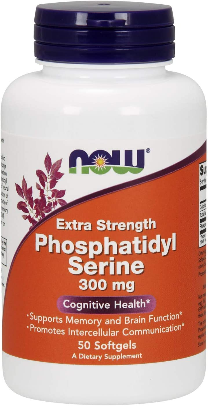 NOW Supplements, Phosphatidyl Serine 300 mg, Extra Strength, with Phospholipid compound derived from Soy Lecithin, 50 Softgels