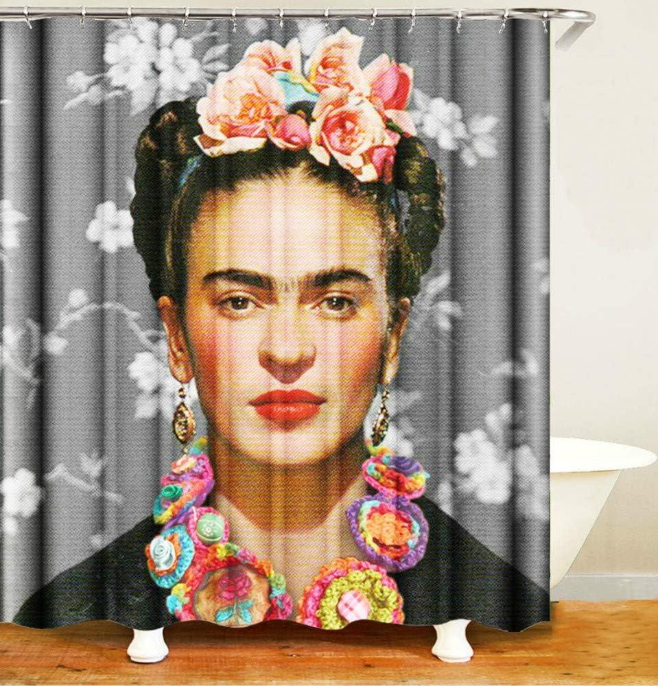 N//A Frida Kahlo Painter Indossa Un Copricapo di Fiori Proteggi la Privacy Tenda da Doccia Tenda da Doccia Stampata /è Facile da Rimuovere