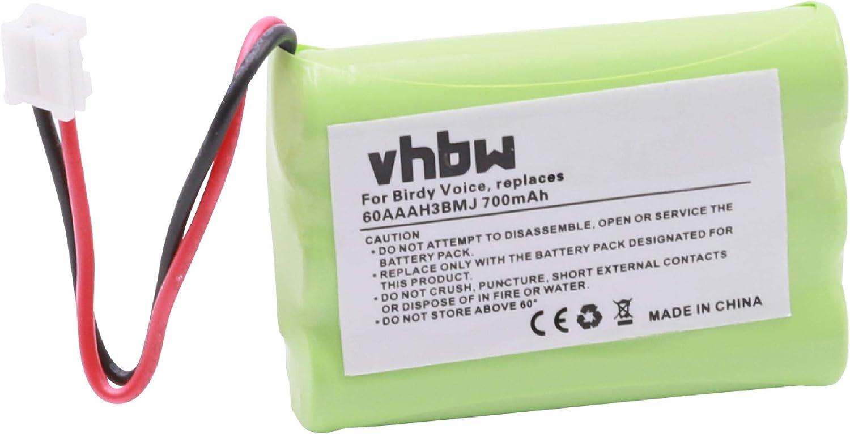 vhbw 1x Batería NiMH 700mAh (3.6V) teléfono inalámbrico Doro Matra Solea 350C, Matra Solea 352C como 60AAAH3BMJ, Entre Otros.