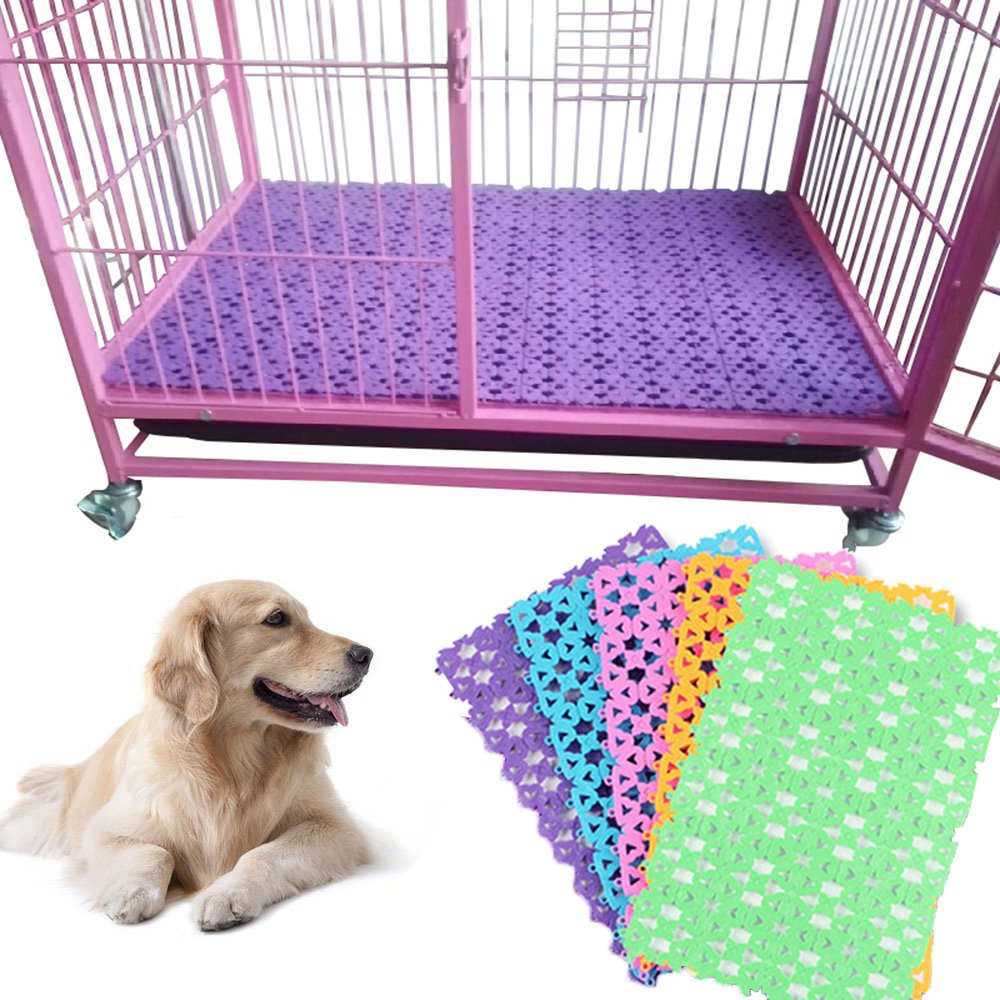 Newweic Rabbit Mats for Cages, Plastic Hole Design imitated Bunny Hamster Small Pets Cage Foot Mat Feet Pad Pet Foot Claw Paw Protecting Holder Rug (Multi-colors,4Packs)