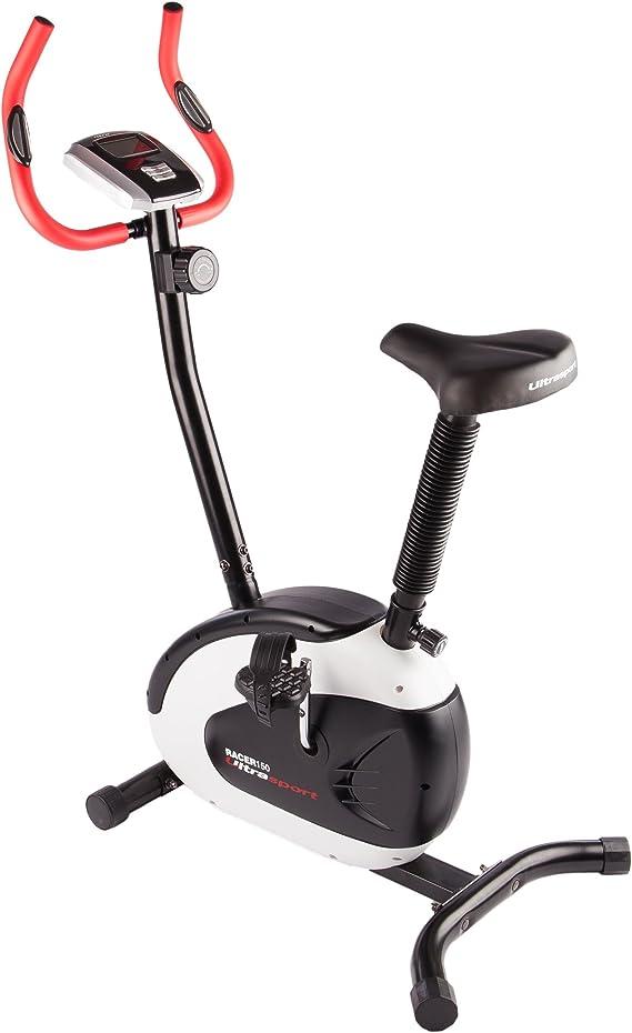 Ultrasport Bicicleta estática ergómetro, bicicleta fitness para mejorar la salud y la forma física, aparato de cardio ideal con consola, sensores de pulso, resistencia ajustable en 8 posiciones: Amazon.es: Deportes y aire