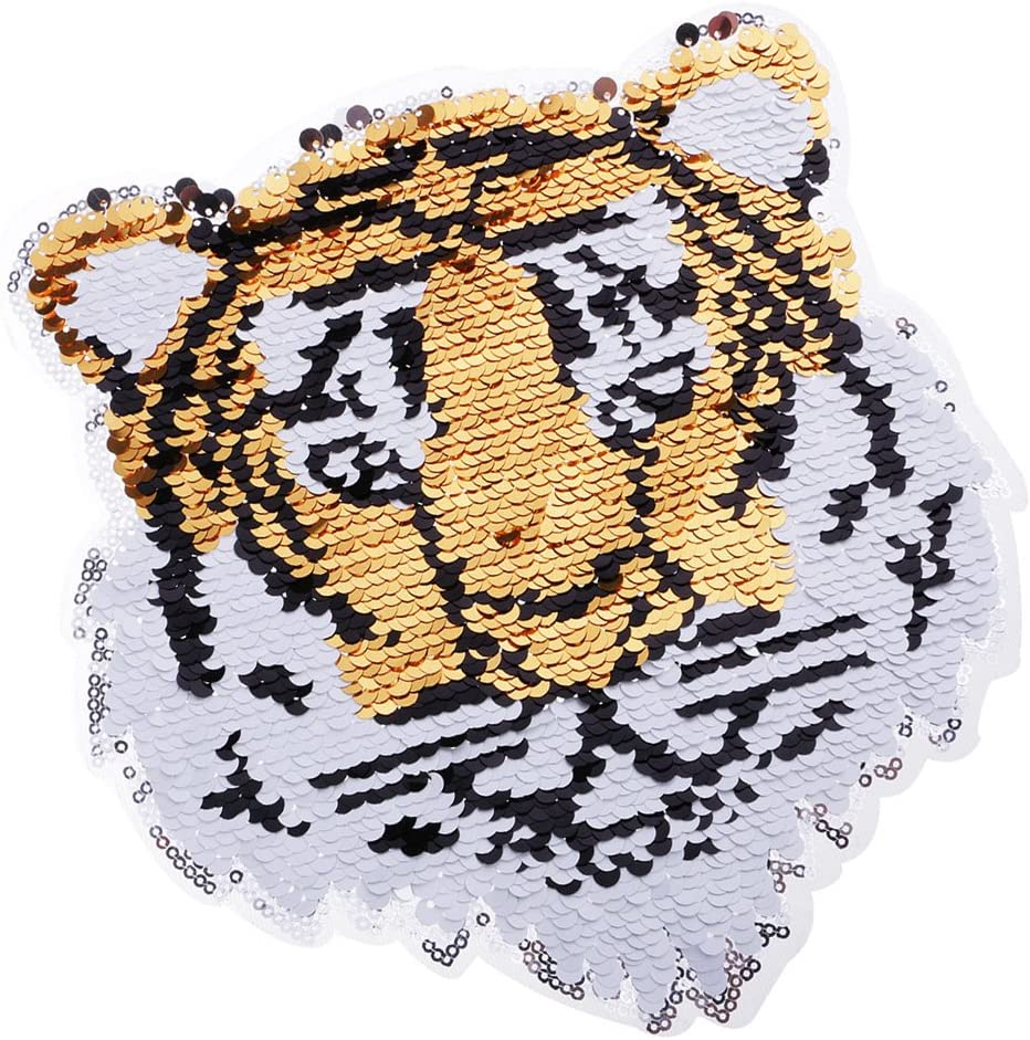 Hellery Reversible Sequin Tiger Sew-on Patch Transfer Aplique DIY ...