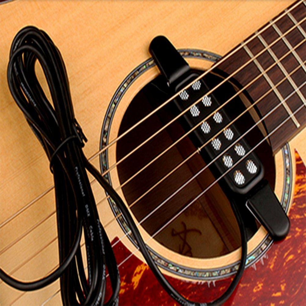 artempo - Pastilla para guitarra eléctrica y acústica Transductor para Guitarra Acústica, longitud de cable de 3 metros, color negro: Amazon.es: ...