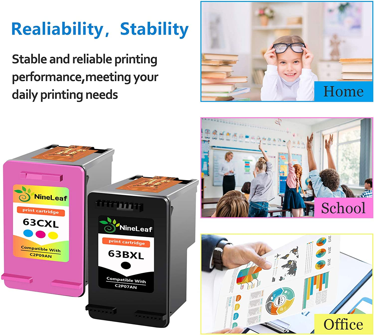 NineLeaf New Generation Remanufactured Ink Cartridge High Yield Compatible for HP 63 63XL Envy 4520 4516 Officejet 5255 5258 3830 3833 4650 DeskJet 1112 Shows Accurate Ink Level Tri-Color,3 Pack