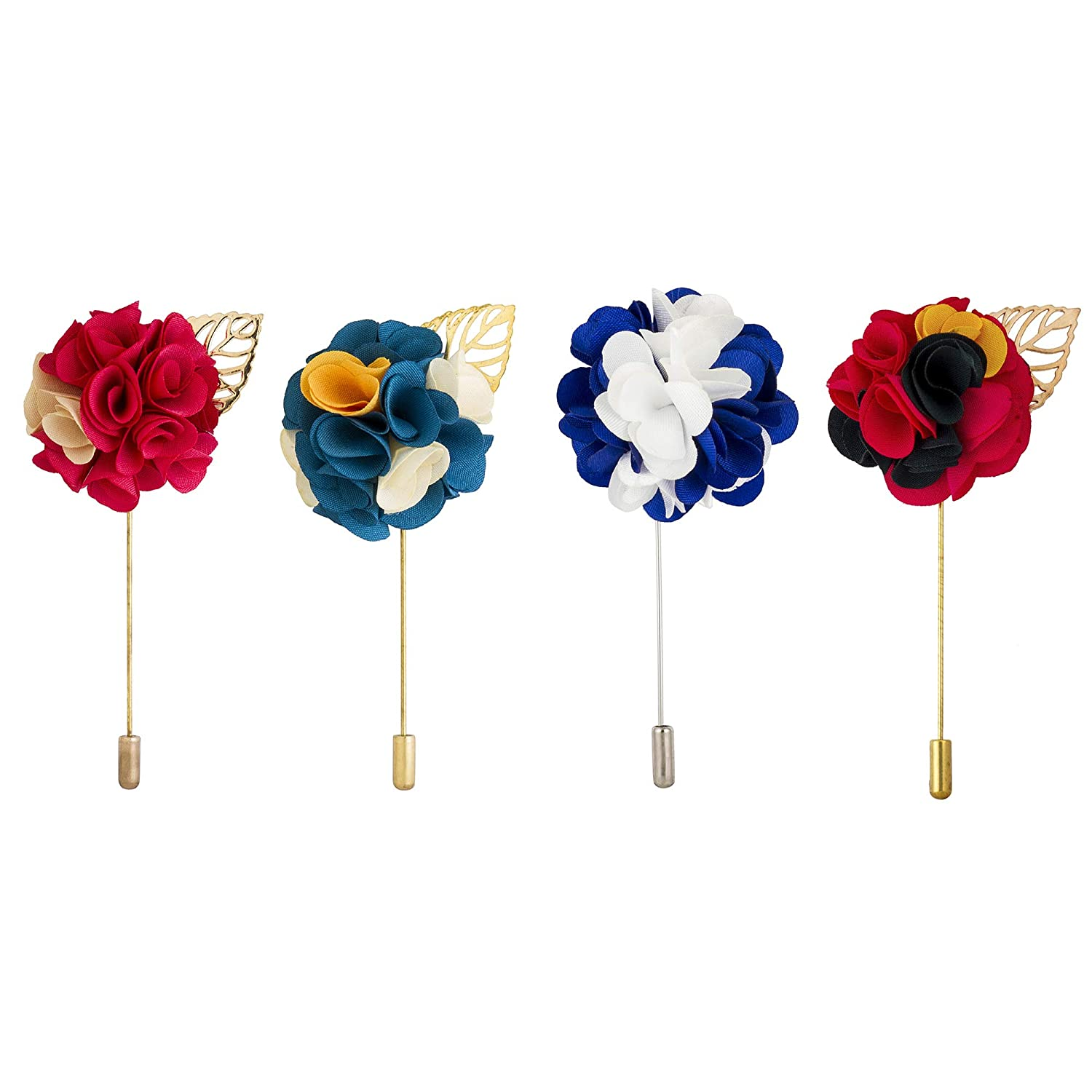 Multi Color,Free Size Knighthood Mens Flower Lapel Pins Gift Set -Pack of 4