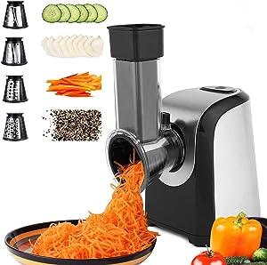 Electric Vegetable Graters Professional Salad Maker, Electric Slicer Shredder Graters for Kitchen, Electric Salad machine for Vegetables Carrot Cheese Black