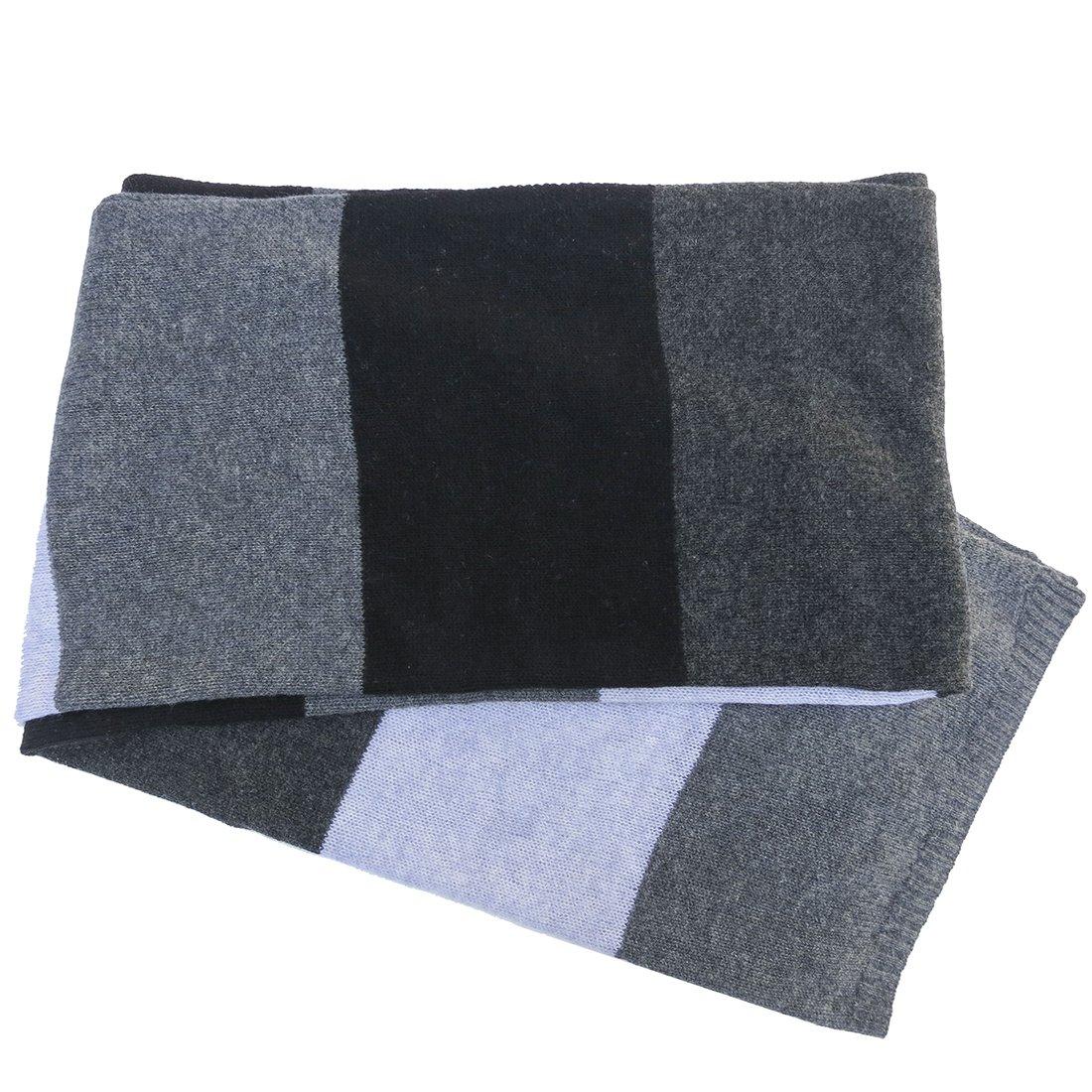 Blue Pacific Men's Cashmere Color Block Scarf Slate