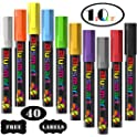 10-Pack Blusmart Liquid Chalk Markers with 40-Count Labels