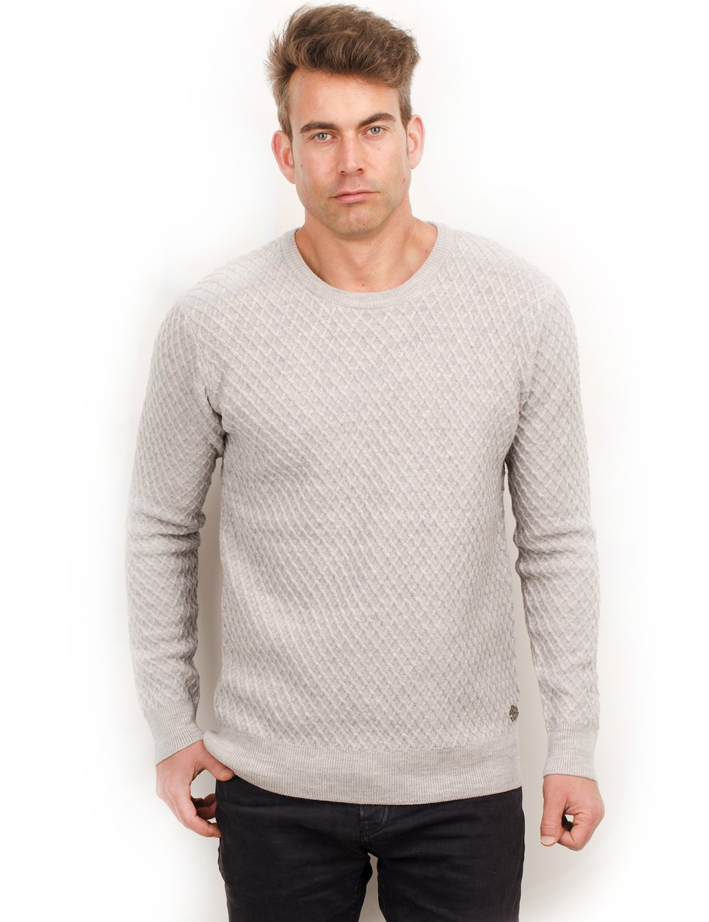 Scotch & Soda Fine Cable Knit Pullover, Grey (2XL)