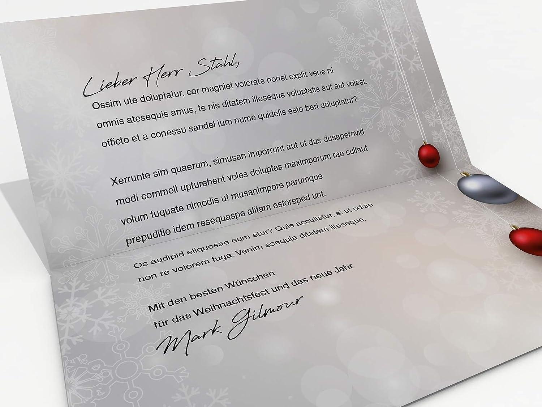 Tarjetas de Navidad con sobres de carta, Set de 50 Diseño Bolas de Navidad rojo y plata, - Tarjetas imprimibles: Amazon.es: Oficina y papelería