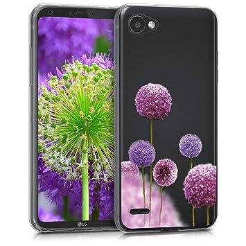 kwmobile Funda para LG Q6 / Q6+ - Carcasa de [TPU] para móvil y diseño de Flores moradas en [Rosa Fucsia/Violeta/Transparente]