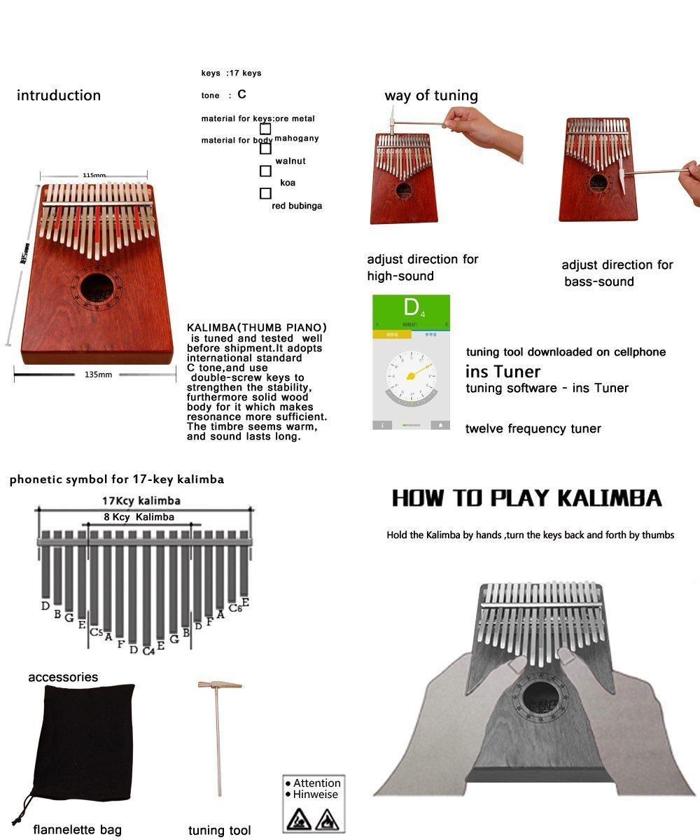YMC Kalimba 17 keys with Instruction and Tune Hammer, Portable Thumb Piano Mbira Sanza Mahogany Body Ore Metal Tines