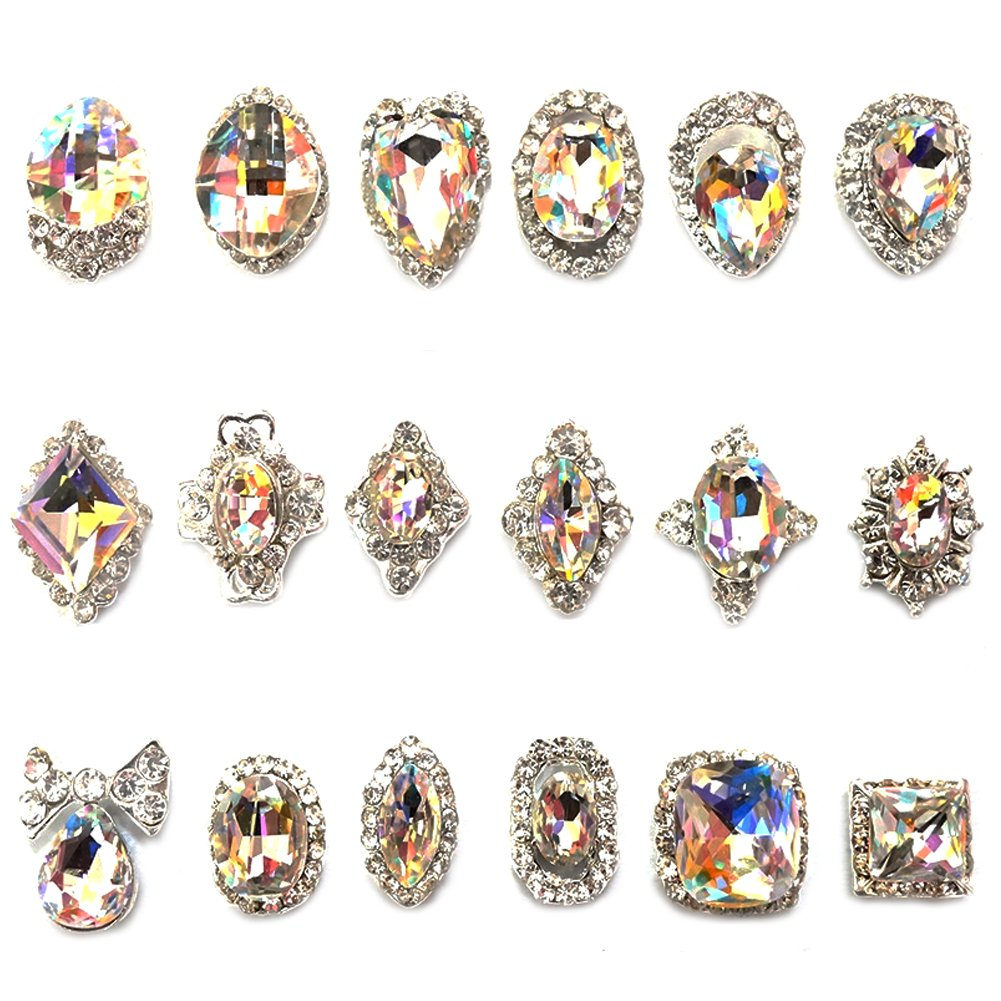 12Pcs 3D Luxury Clear Colored Shining Diamond Rhinestone Alloy Nail Art Decorations Charming Fashionable DIY Distinctive Nail Art Work Ownsig