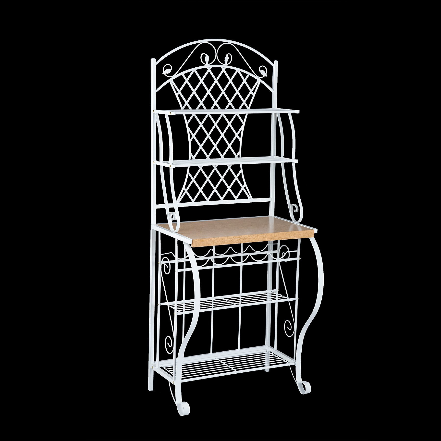 Southern Enterprises Trellis Bakers Rack with Scroll Work, White with Oak Finish by SEI (Image #6)