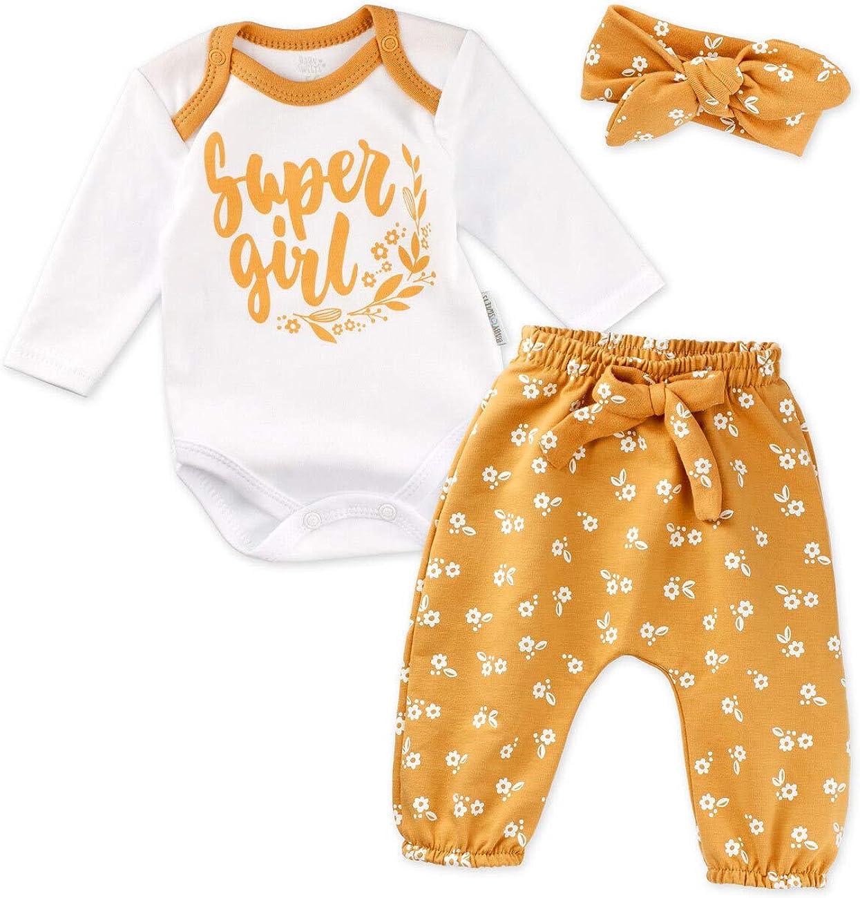 Baby Sweets 3er Baby-Erstausstattung-Set Good Girl f/ür M/ädchen mit Langarm-Body Hose und Haarband in 3 Farben als Baby-Bekleidungsset f/ür Neugeborene und Kleinkinder 0-18 Monate