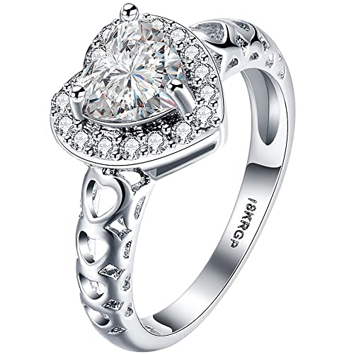 Review AWLY Womens 18K White Gold Heart Cubic Zirconia CZ Eternity Solitaire Halo Ring Engagement Wedding Band
