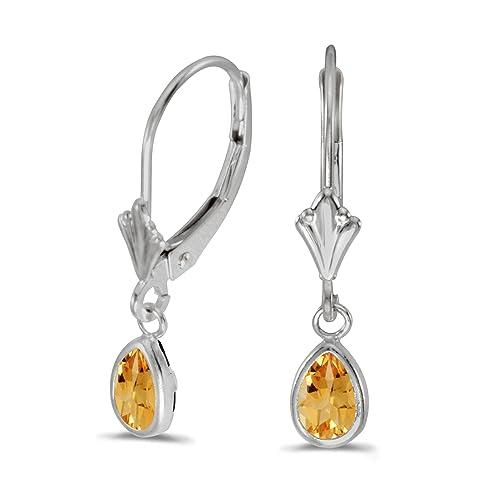 14k White Gold Pear Citrine Bezel Lever-back Earrings