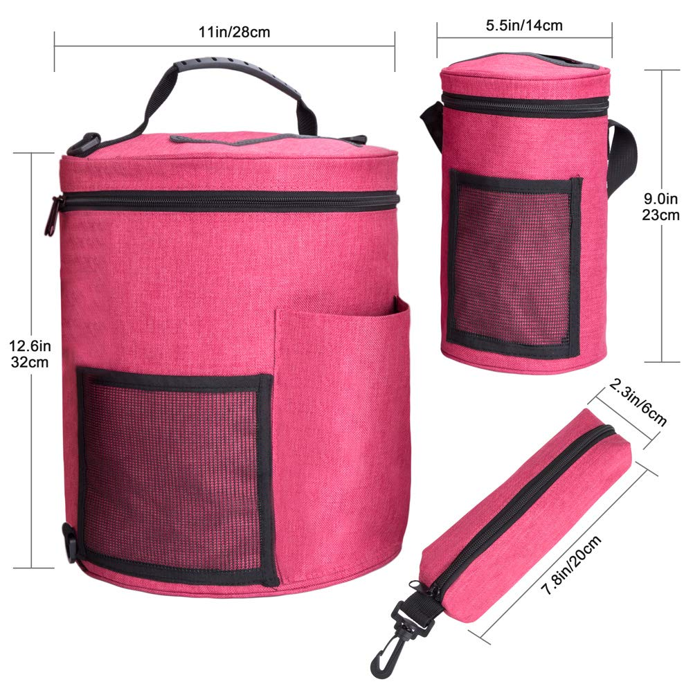 BCMRUN Knitting Tote Bag Set 3Pcs, Large Yarn Storage/Travel Baskets Knitting Organizer/Crochet Hook Bag with Zipper and Pockets for Home Traveling Crocheting Anywhere, Sturdy & Lightweight by BCMRUN (Image #2)