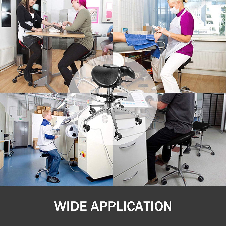 VEVOR Sattelhocker H/öhenverstellbar 50-70CM Kosmetikhocker 53cm Drehhocker 10 PU-Rollen Verbesserung der K/örperhaltung Arztpraxen