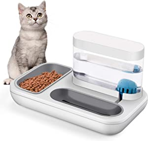 BOWINR Cats Water Gravity Dispenser 1500ml Cat Bowls for Food and Water Double Bowls Detachable Anti Spill Non Slip Base Stable Premium for Dog Puppy Pets Separation Design Automatic Waterer Bowl Set