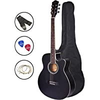 Zabel Acoustic Guitar 40 Inches Matt Finish, Black, With Combo Guitar Bag, Strings, Strap And Picks