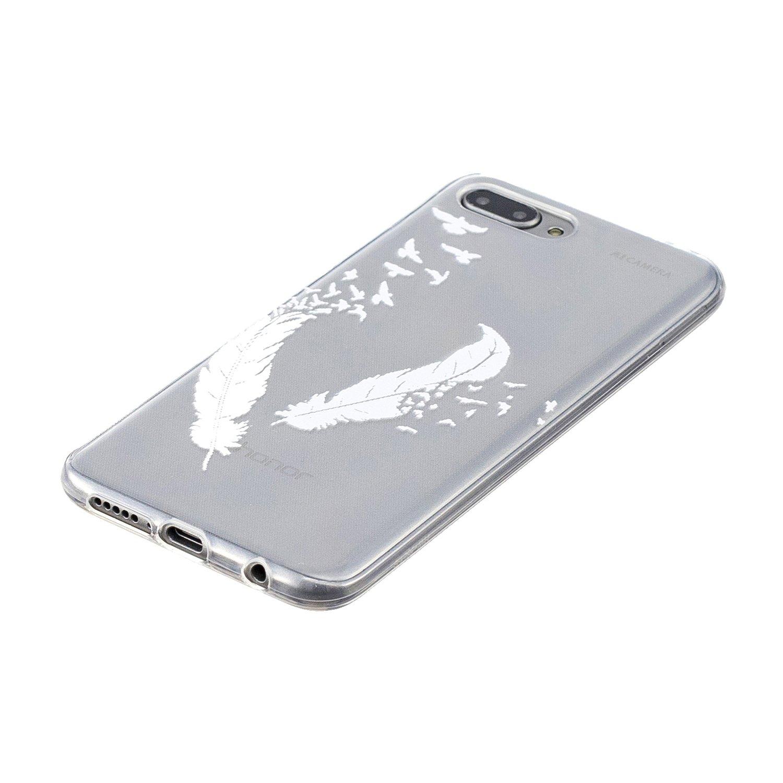 Ultra Sottile Silicone Gel Morbido Cover Antiurto con Disegni Piuma Nera Custodia Protettiva per Huawei Honor 9 Lite Crystal TPU Funluna Cover Huawei Honor 9 Lite Piuma Nera