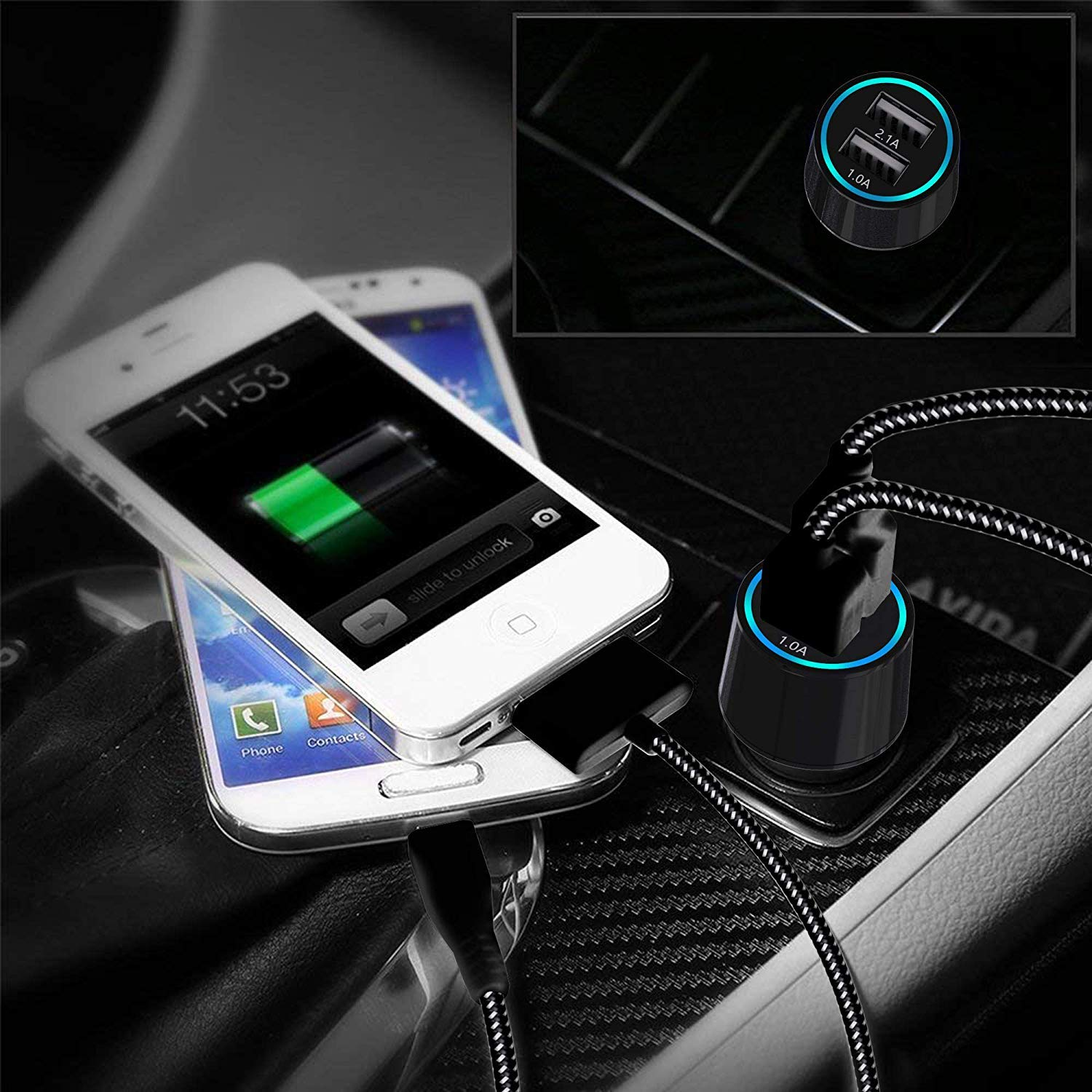 3.1A Rapid Dual Port USB Car Charger with 6ft USB Charging Cable Compatible for i Phone X 8 8 Plus 7 6s 6s Plus 5S 5 5C SE and More jonhson 4352718120 USB Car Charger