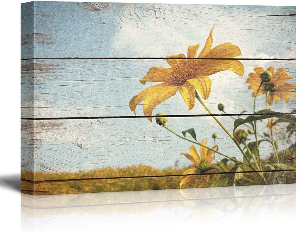 wall26 Wildflowers in a Field - Rustic Floral Arrangements - Pastels Colorful Beautiful - Wood Grain Antique - Canvas Art Home Art - 24x36 inches