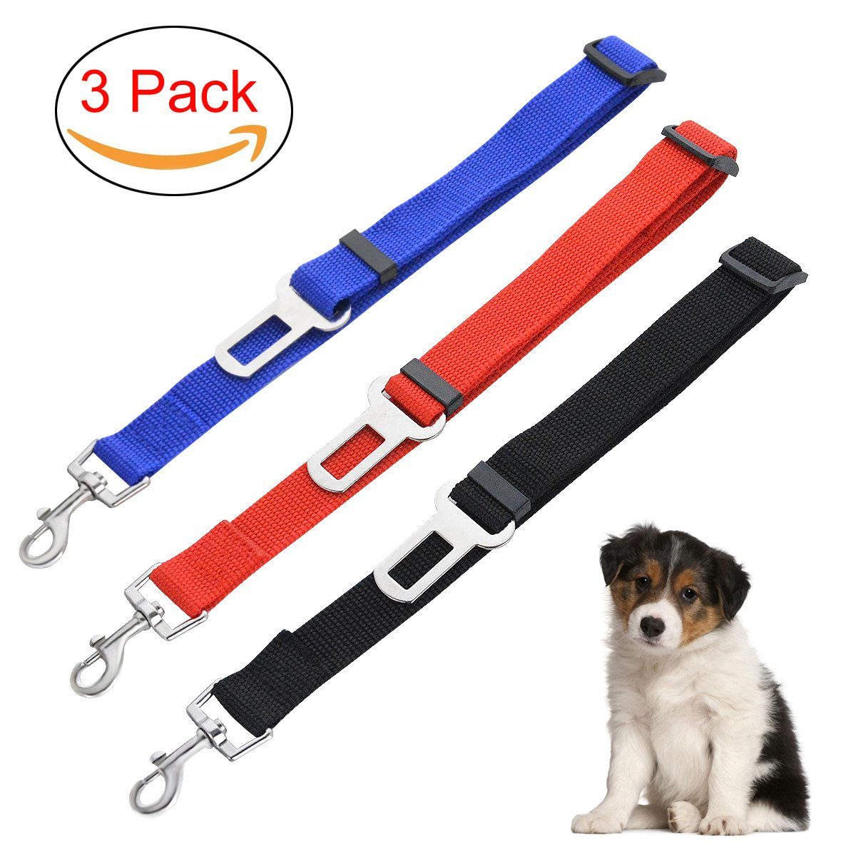 Dog Seatbelt By Guardians Adjustable Pet Car Safety Seat Belt Nylon Material Dogs Harness Lead Leash Vehicle Seatbelts, Set of 3