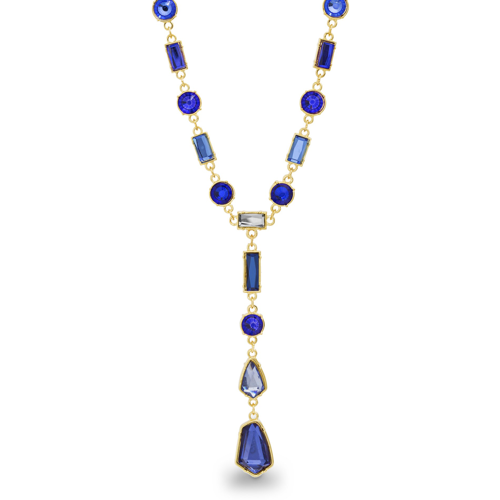 Catherine Malandrino Women's Blue Multi-Tonal Y-Style Yellow Gold-Tone Necklace