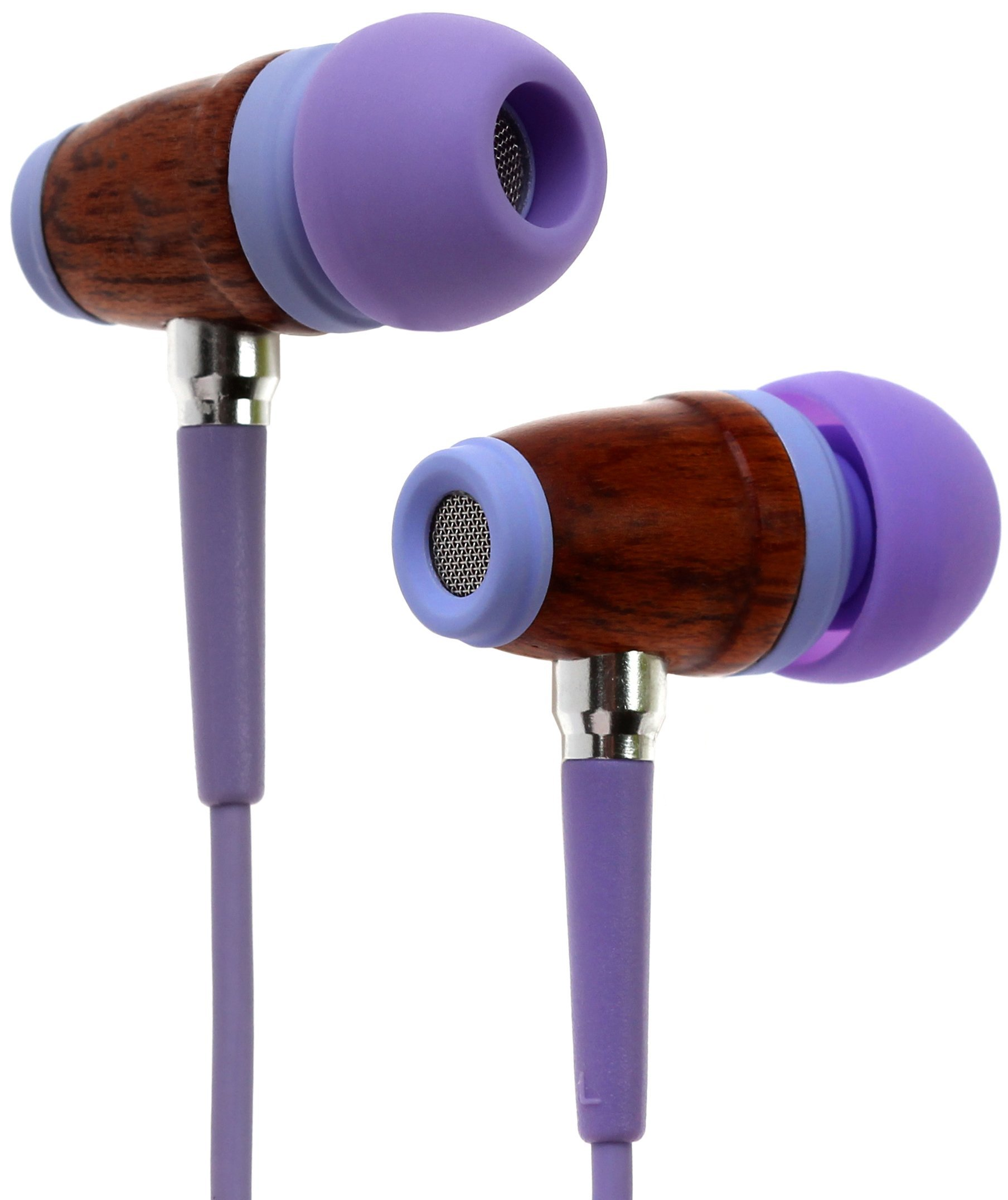 Symphonized Kids Volume Limited Premium Wood In-ear Noise-isolating Headphones|Earbuds|Earphones with Mic (LaLa Lavender)