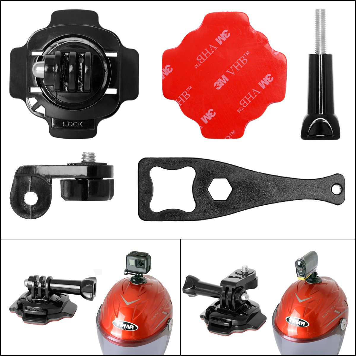 Elemento di fissaggio per bicicletta + corda in acciaio inox + supporto per casco fantaseal M-AHR