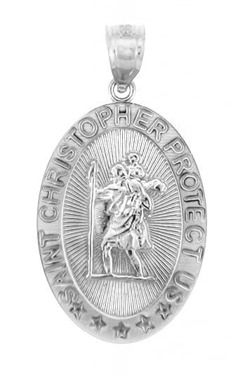 e2181f7039e Amazon.com: 10k White Gold St Christopher Medal Catholic Charm Traveler  Protection Pendant: Jewelry