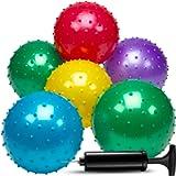 Knobby Balls - (Pack of 6) Bulk 7 Inch Sensory Balls and Spiky Massage Stress Balls, Fun Bouncy Ball Party Favors…
