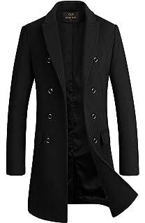 4a046359cd1c YUNCLOS Men's Trench Coat Long Wool Blend Slim Fit Jacket Winter ...