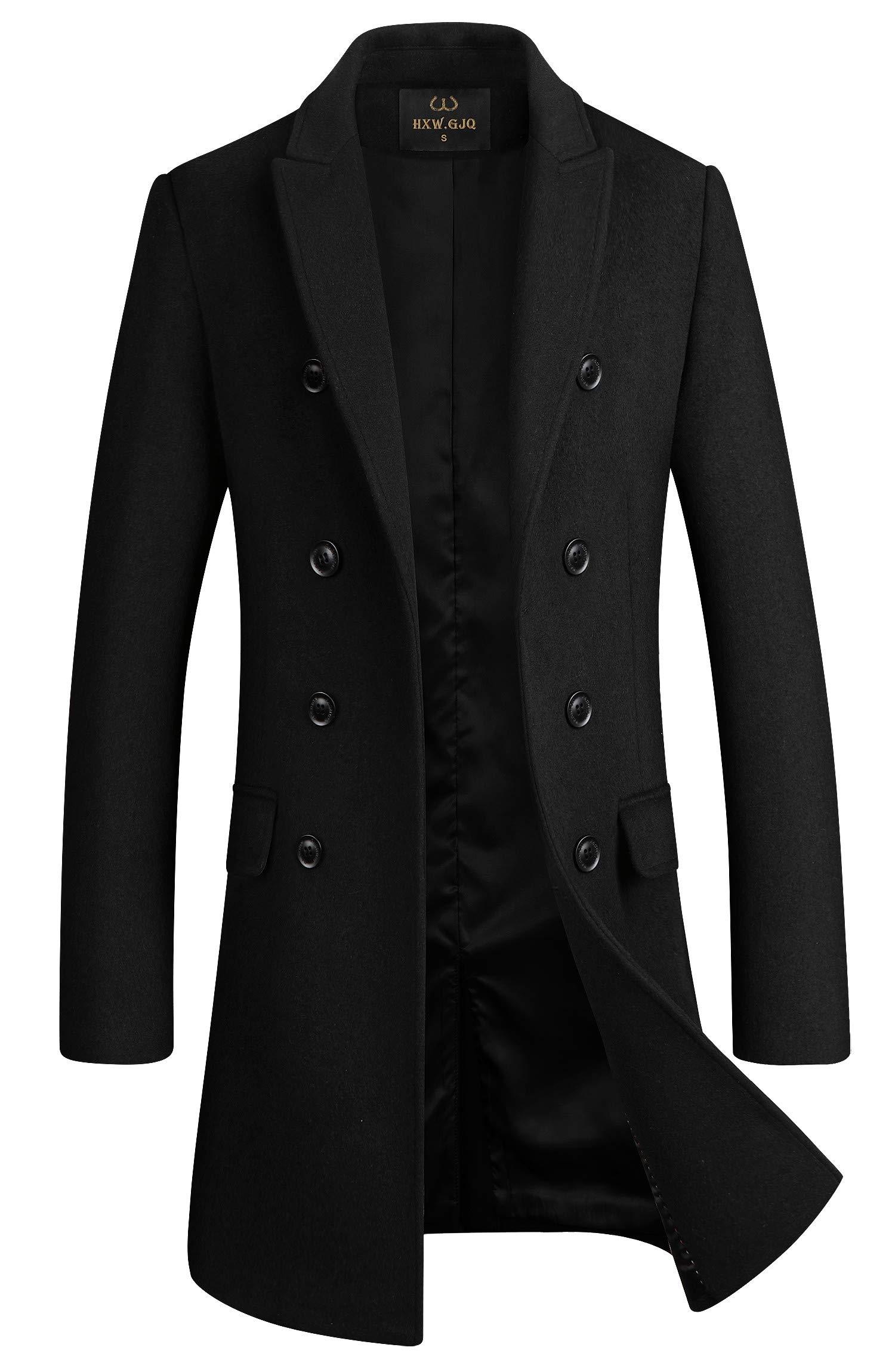 Men's Premium Wool Blend Double Breasted Long Pea Coat (Black, Medium) by HXW.GJQ