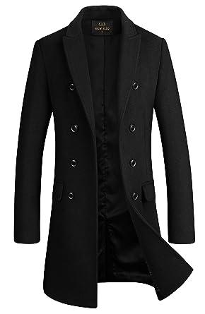 b4328bec Men's Premium Wool Blend Double Breasted Long Pea Coat (Black, Small)